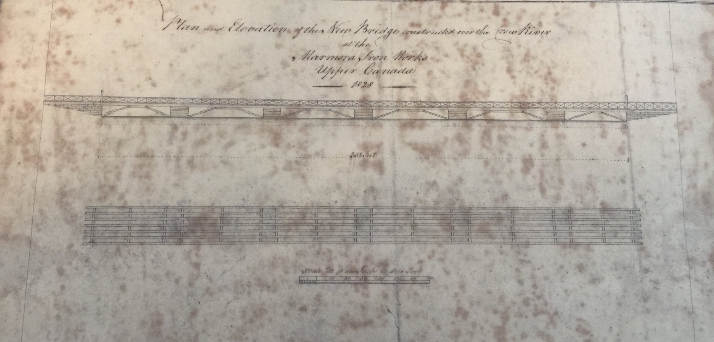 Plan and Elevation of the New Bridge Constructed over the Crow River at the Marmora Iron Works 1828 - 358 feet -