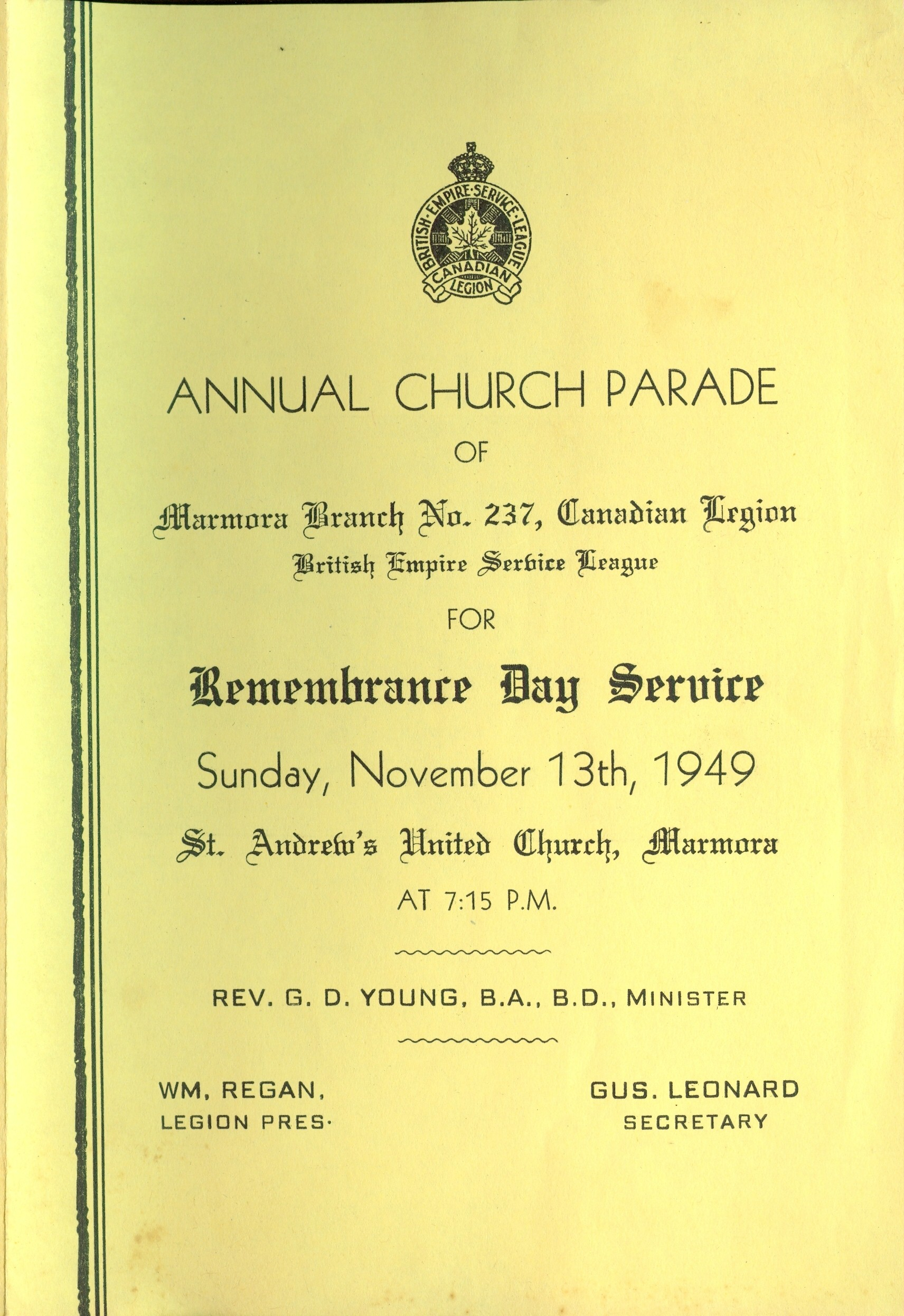 Annual Church Parade Remembrance Day Service program 1949 pg 1, St. Andrew's United Church.jpg