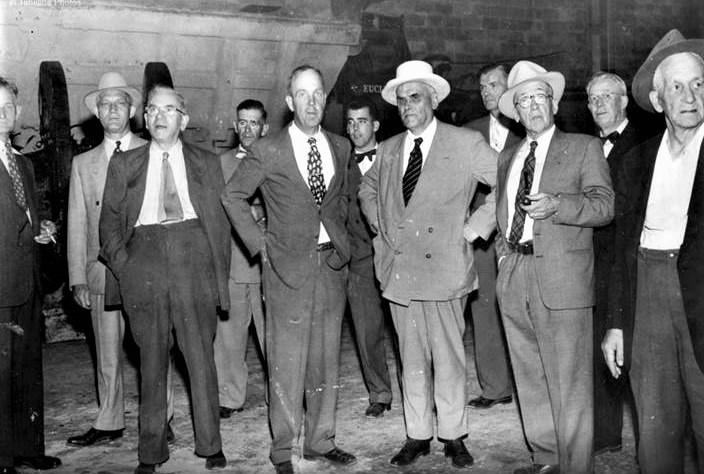 C.D. Howe 3rd f rt & Al Lorenson 2nd f rt 1953 Marmoraton Mine.jpg