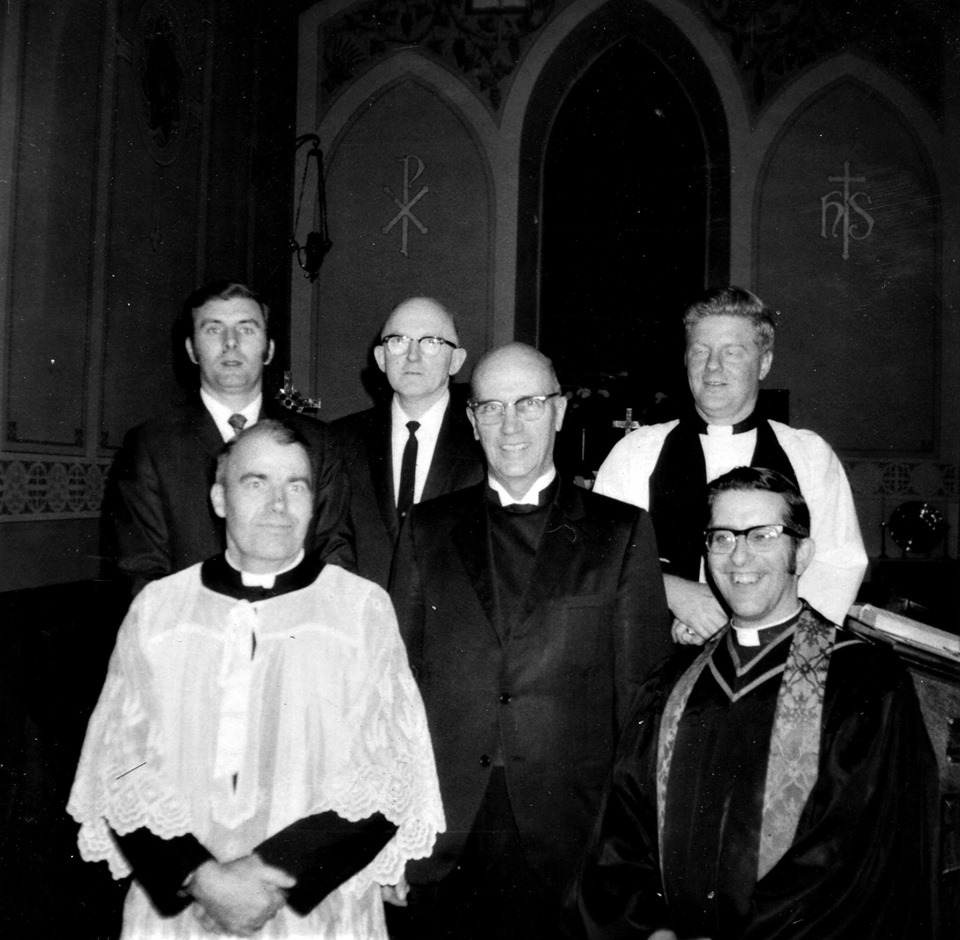 Marmora clergy, c.1976. F.ront row, Father Scanlan, Rev. Earl S.Bull, Rev.John Peters, back .row, ____, Rev. Gerald Kemp, Rev.John Lombard