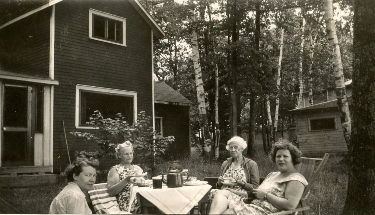 Ketcheson cottage, Crowe lake. Rita Murray, unkown, unkown, Marion Ketcheson.jpg