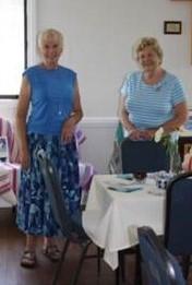 Pauline Wilkins and Carol Culos helped prepare luncheon