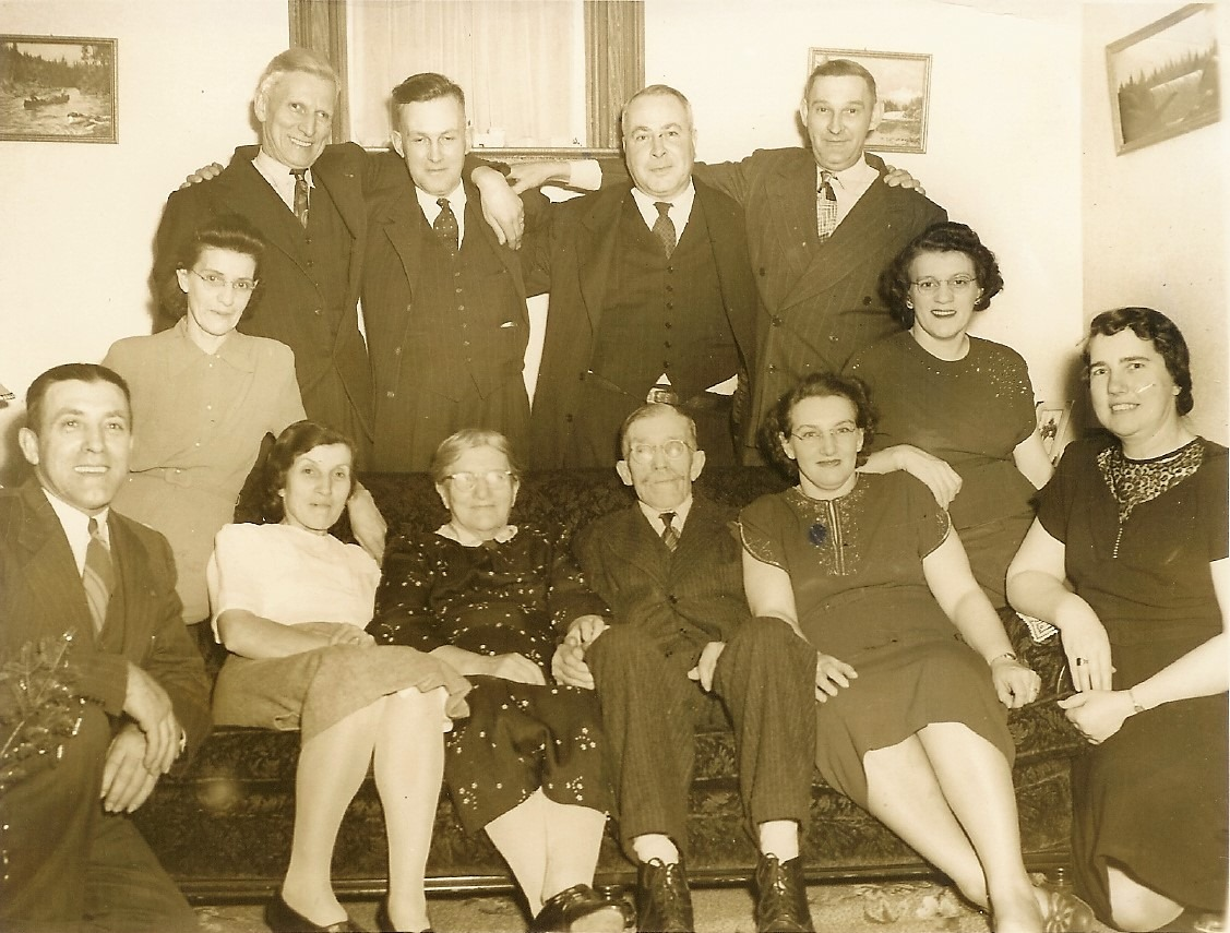 Back row, L to R.- Bill Magee, Charles Holland, Jack Hele, Bill Norton. C.R.- Theda Magee, Nora Norton. F.R.- Harry VanVolkenburg, Gladys Holland, Sarah VanVolkenburg, John VanVolkenburg, Vera Hele, Maude VanVolkenburg.