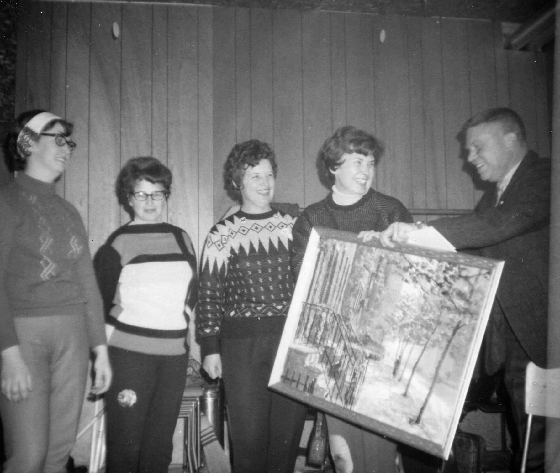 Vaughan Glover, presentation to Audrey Wentworth, ______, Shirley Derry, Barb Sanderson.