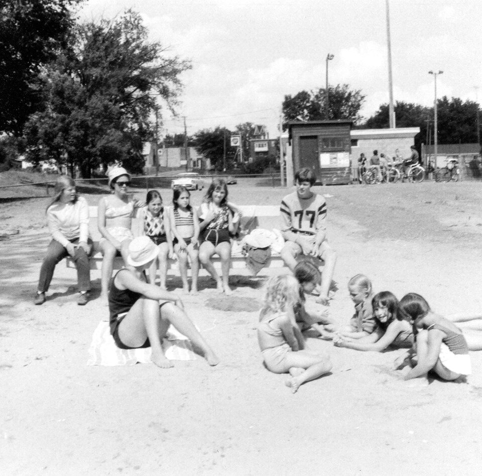 Marmora beach, c. 1969. Janet Maloney, Betsy Rothermel, Janet O'Connor, Maureen O'Connor, Graham Bell.jpg