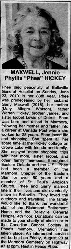 Maxwell,  Jennie Phyllis Hickey