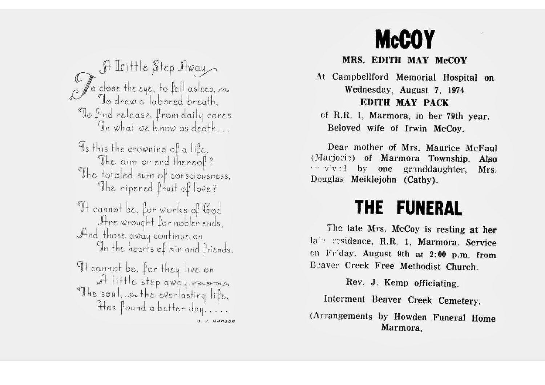 McCoy,  E. M. Pack