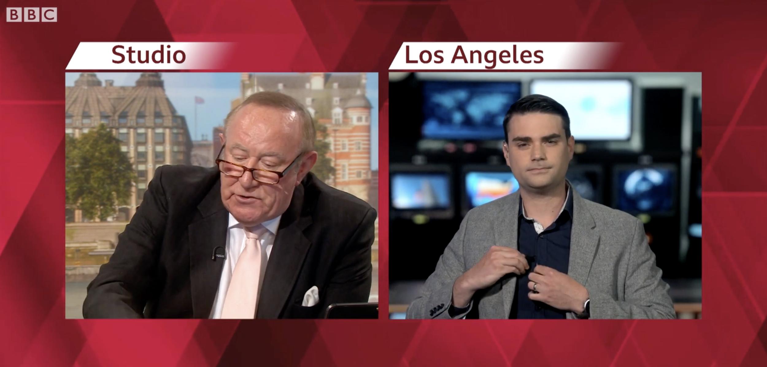 "Andrew Neil of BBC's ""Politics Live"" and Ben Shapiro"