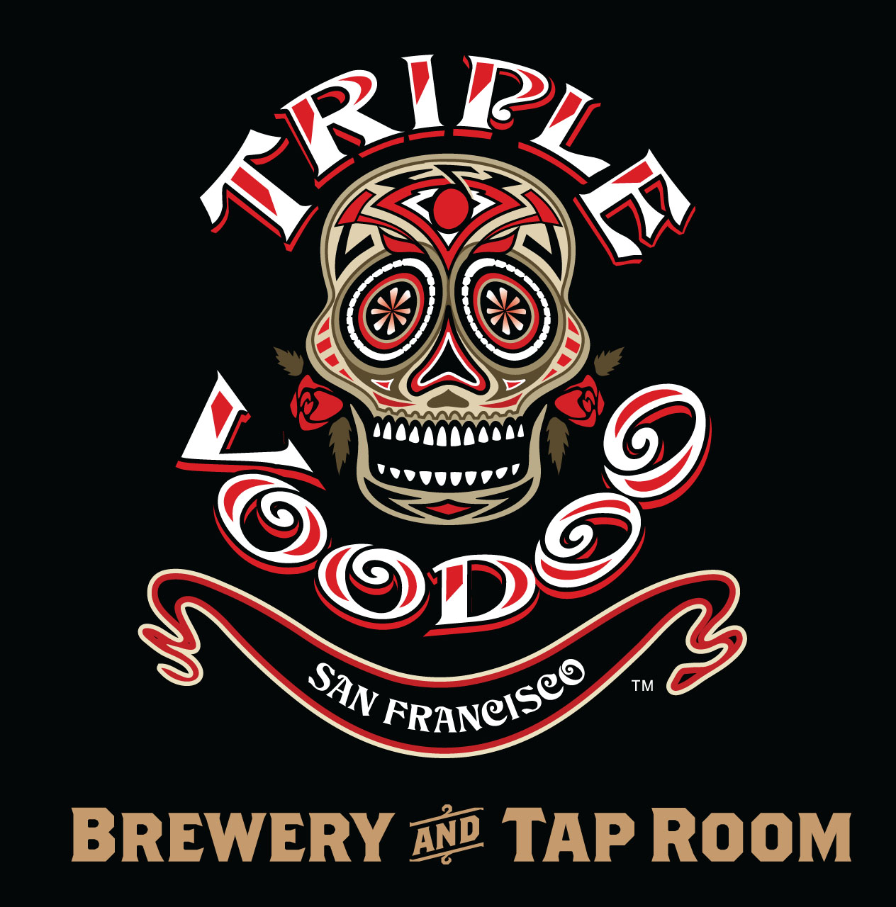 Triple Voodoo Brewery and Tap Room Logo - Brown Text - MARK UP ONLY.jpg
