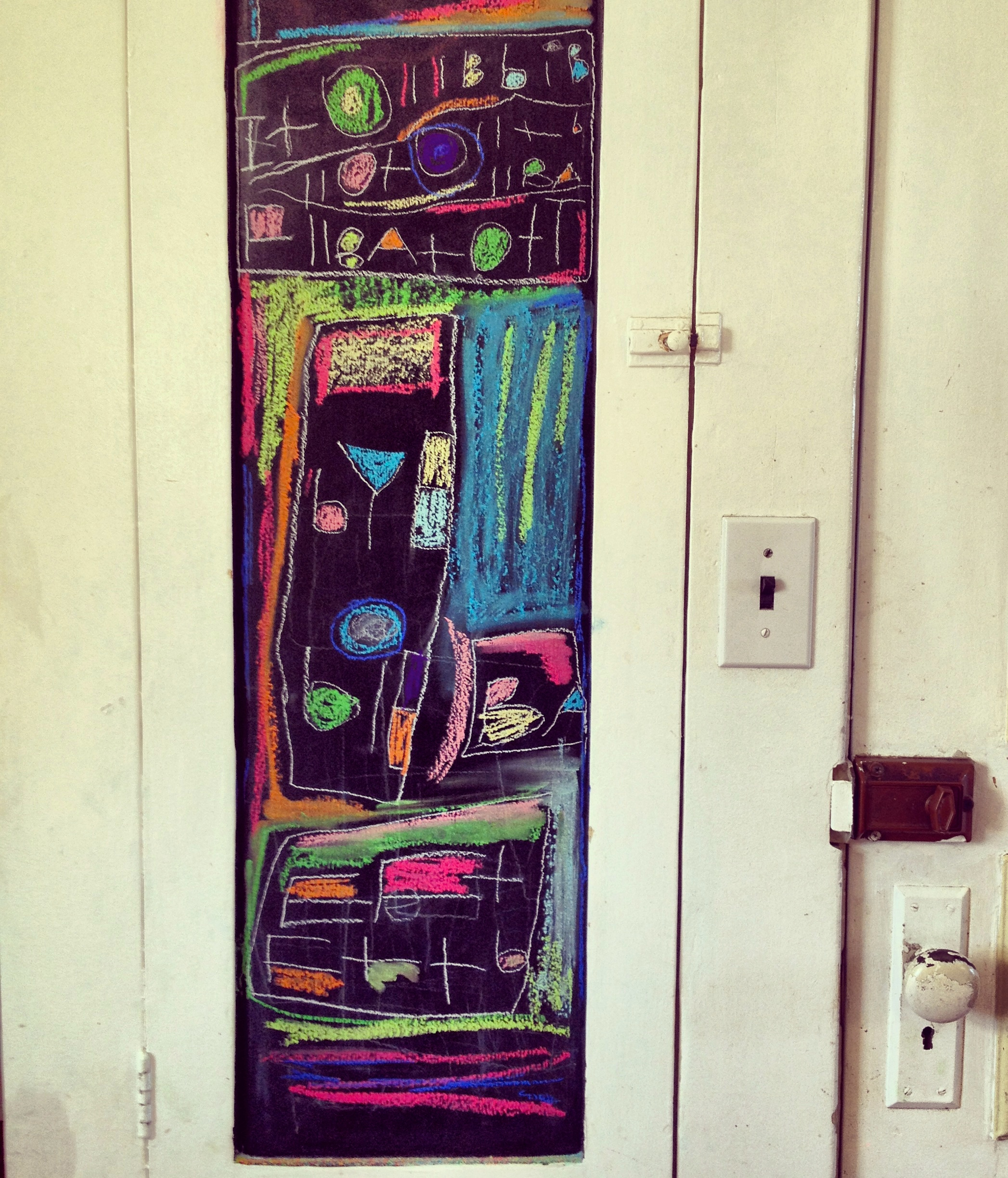 The spice cabinet, which we painted with chalkboard paint.