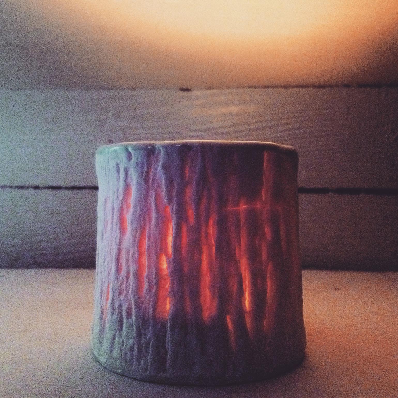 Cedar textured translucent votive