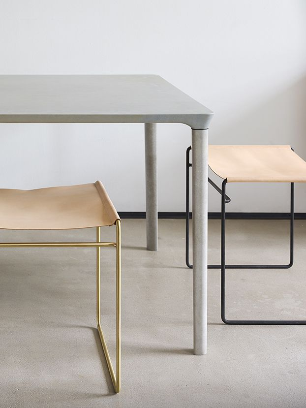 How brass and leather come together in these elegant  stools.