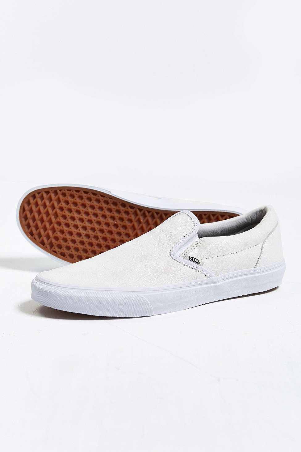 Vans, Classic Leather Slip-on, Cream,   Men's