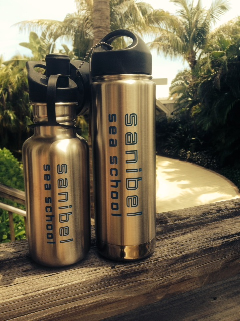 Still need a reusable bottle? Sanibel Sea School has two stainless steel Kleen Kanteen bottles for sale: an 18oz water bottle and a 20oz vacuum insulated thermos. The insulated thermos keeps your beverages cool for 24 hours or hot for 6 hours and even comes with a cafe lid - a must have!