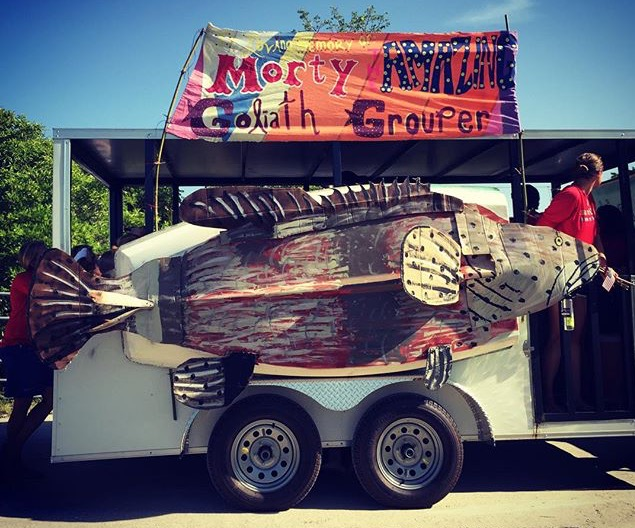 Sanibel Sea School's grouper-themed float at the 2015 4th of July parade.