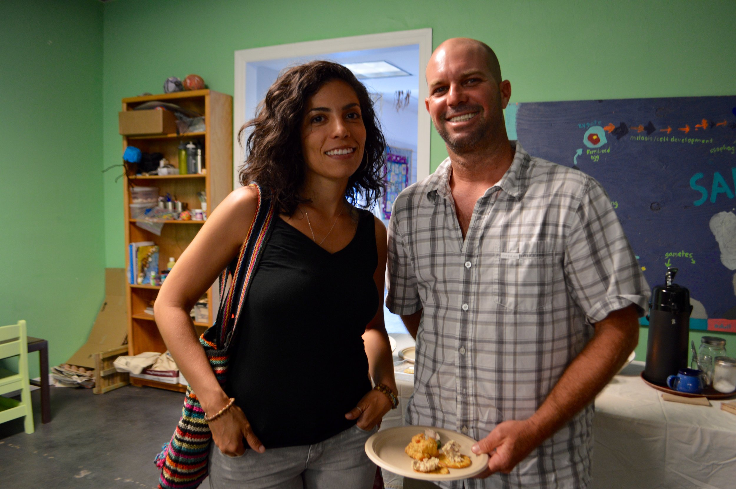 Yali Zawady and John Houston sample the mullet hors d'oeuvres.