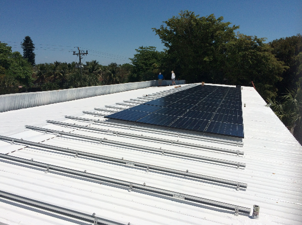 Solar panels are installed on the roof of Sanibel Sea School's Flagship Campus, located at 455 Periwinkle Way.
