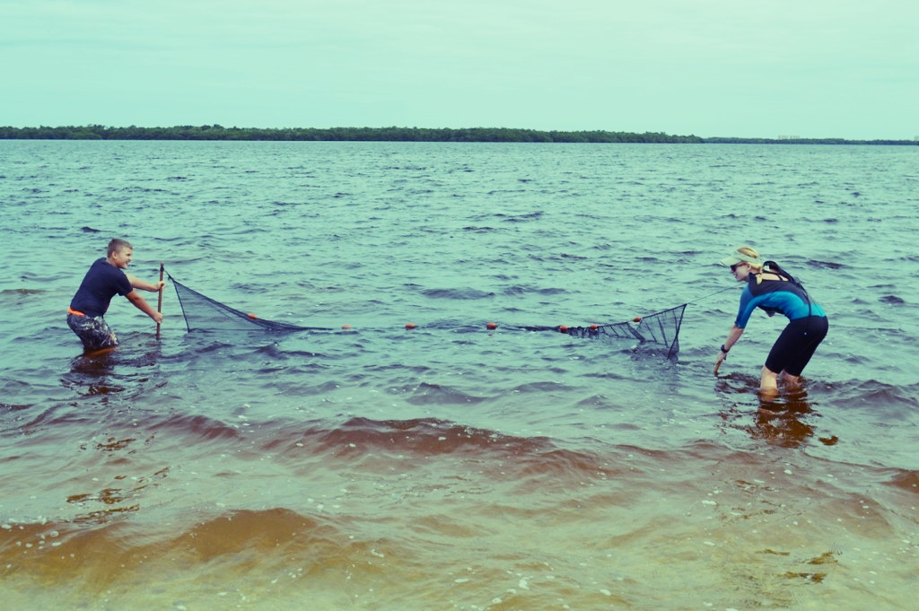 Nicole Finnicum shows a students how to use a seine net.
