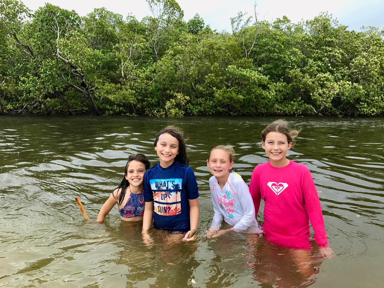 Campers used dip nets to search for swimming crabs at Bunche Beach.
