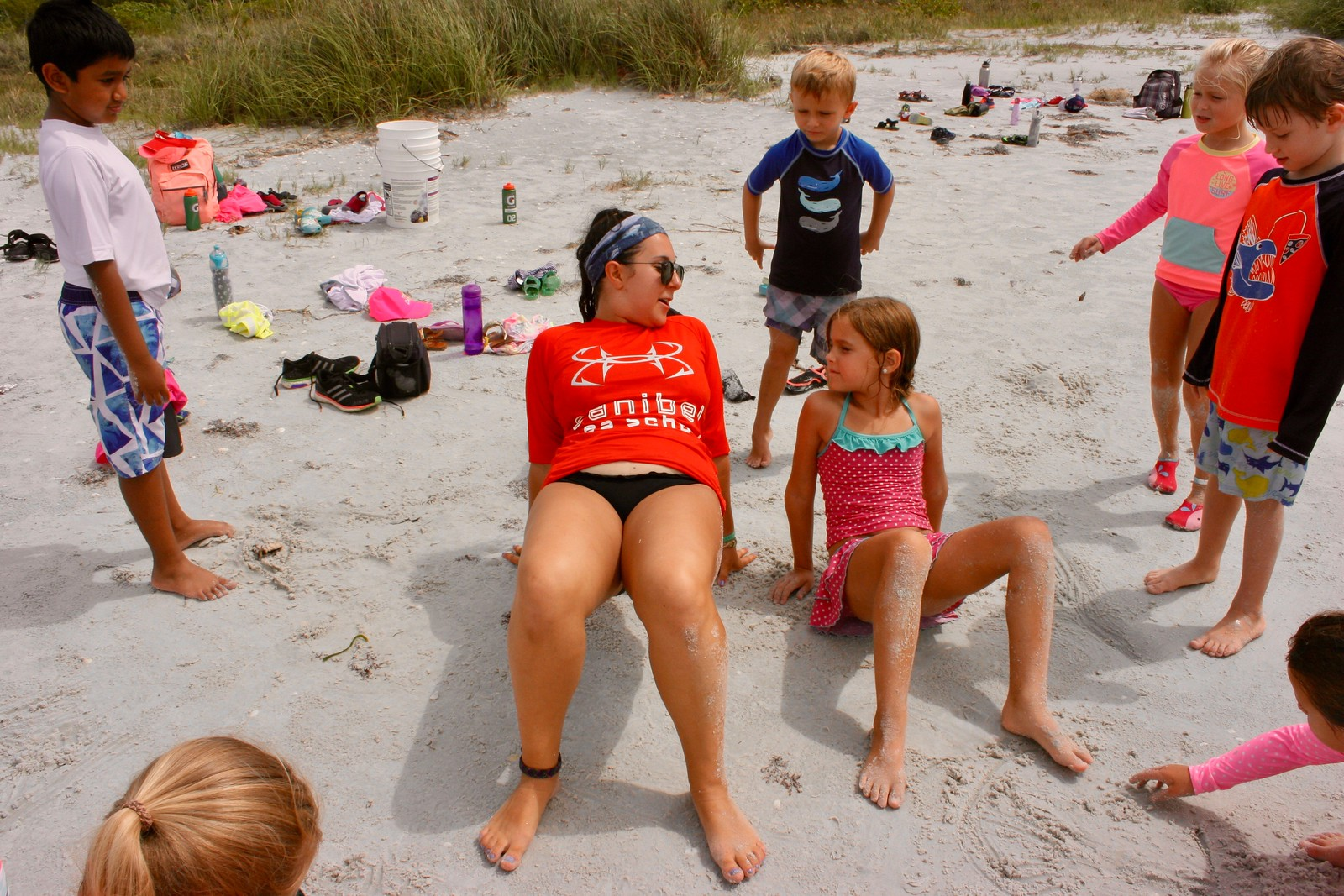 Cuttlefish Week campers played a game of charades on the beach.