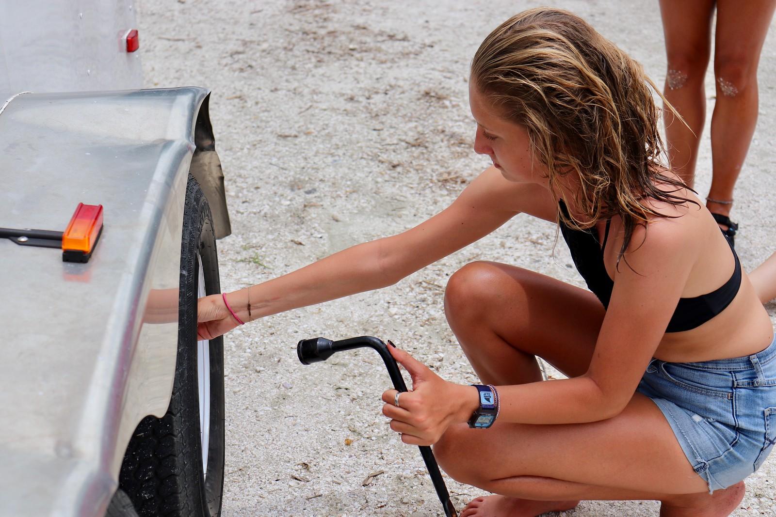 Beru Pierce practiced changing a tire.