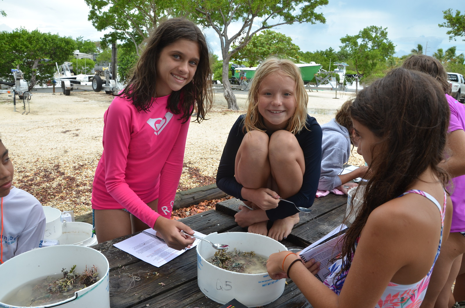 Coralline algae provides habitat for thousands of invertebrates. During a lab, campers tried to identify as many species as possible.