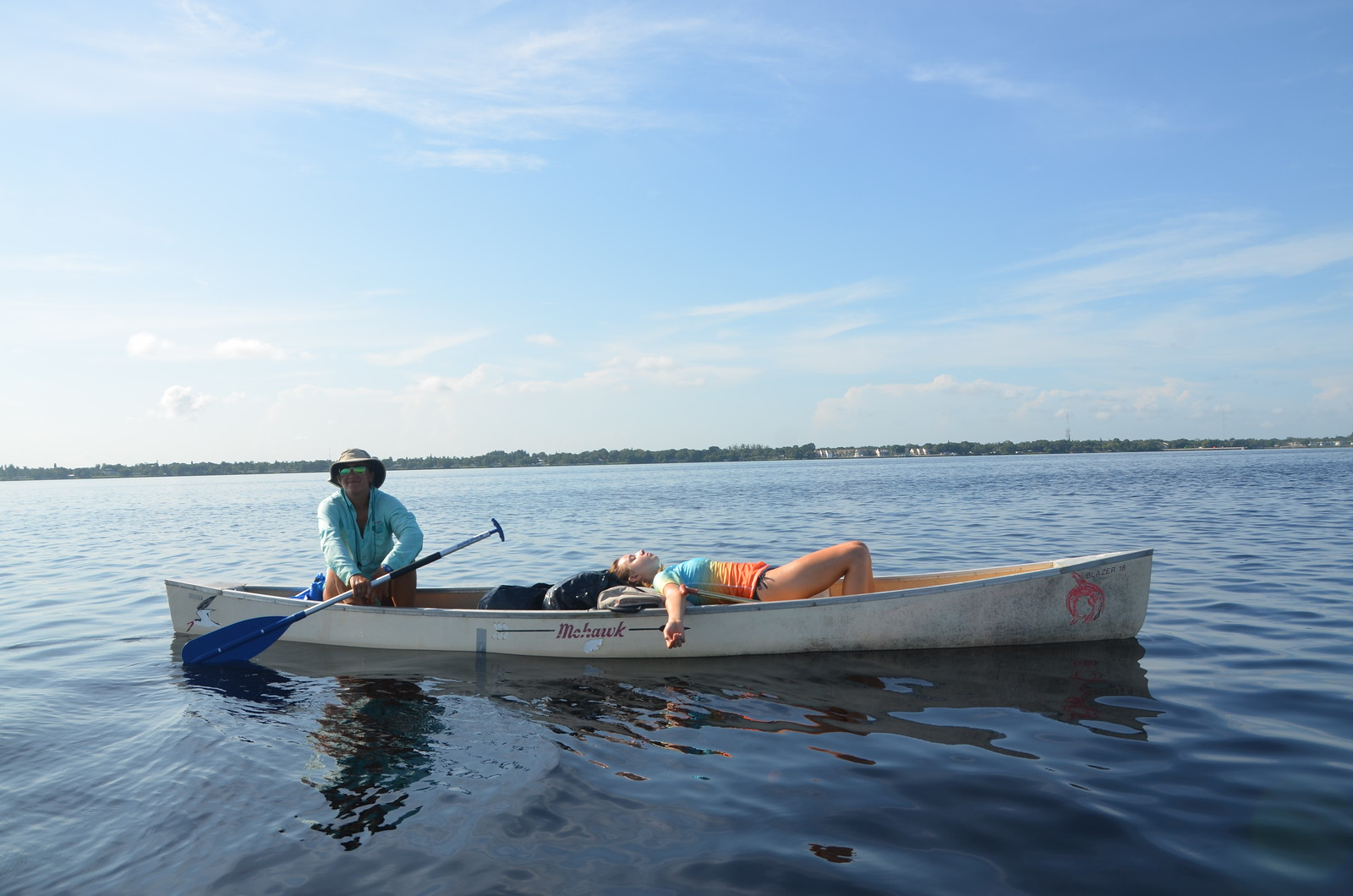Taking a break during a long day of paddling on the Caloosahatchee River.