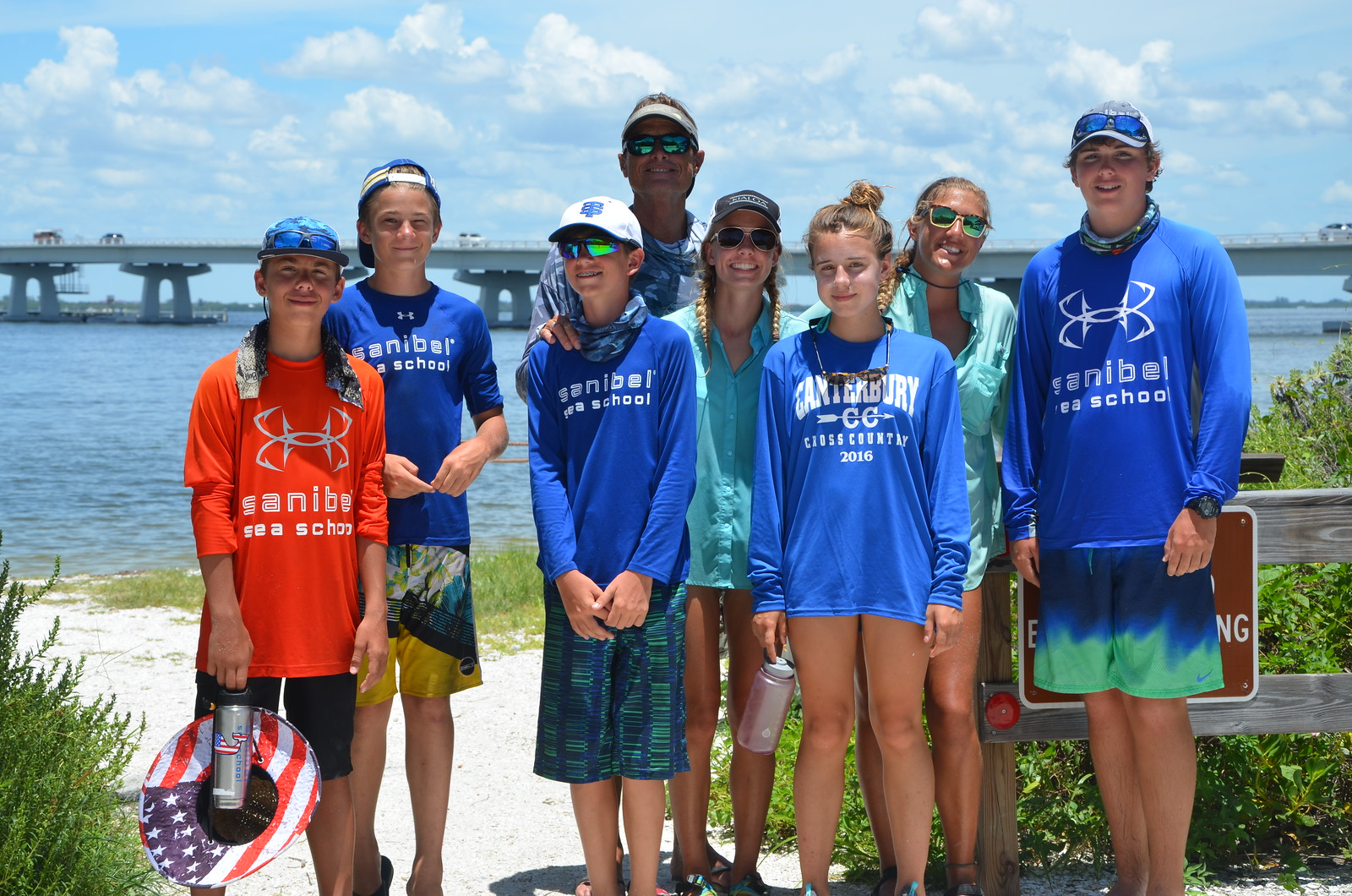 The group posed for a photo at Bailey Beach after their long journey.