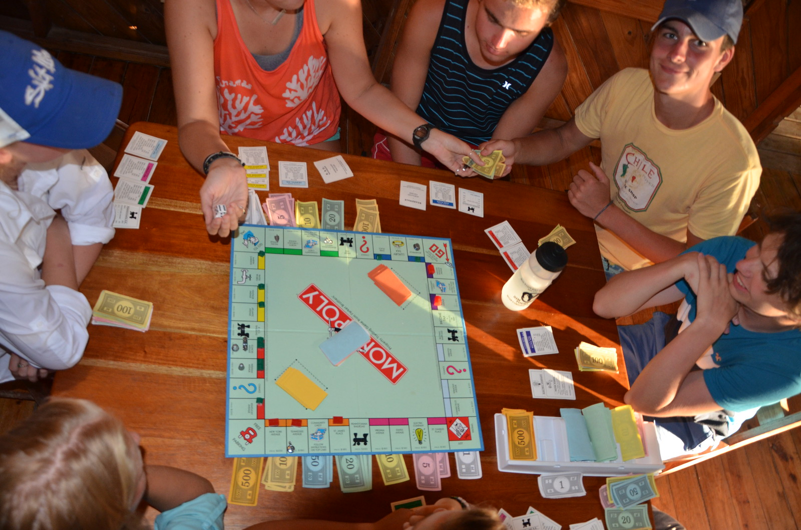 An exciting game of Monopoly after dinner.