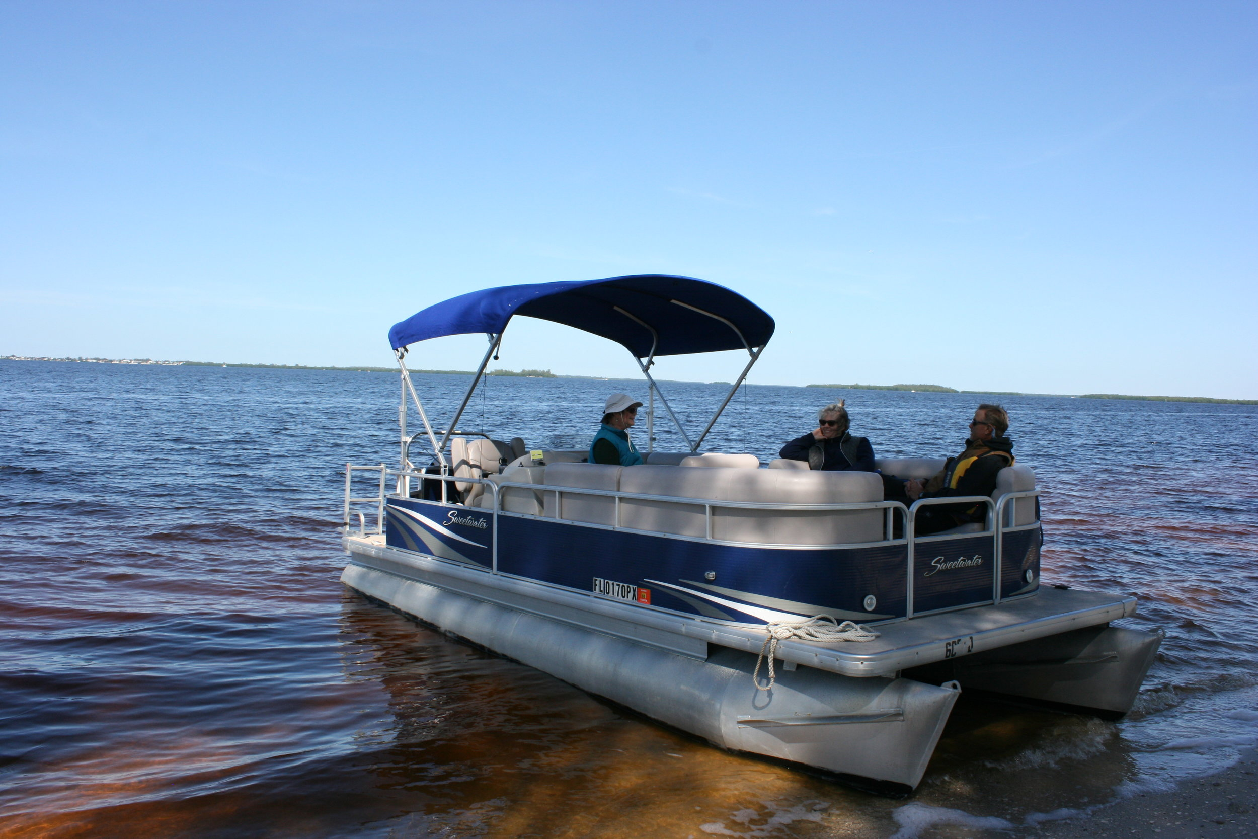 Sanibel Sea School's pontoon boat.