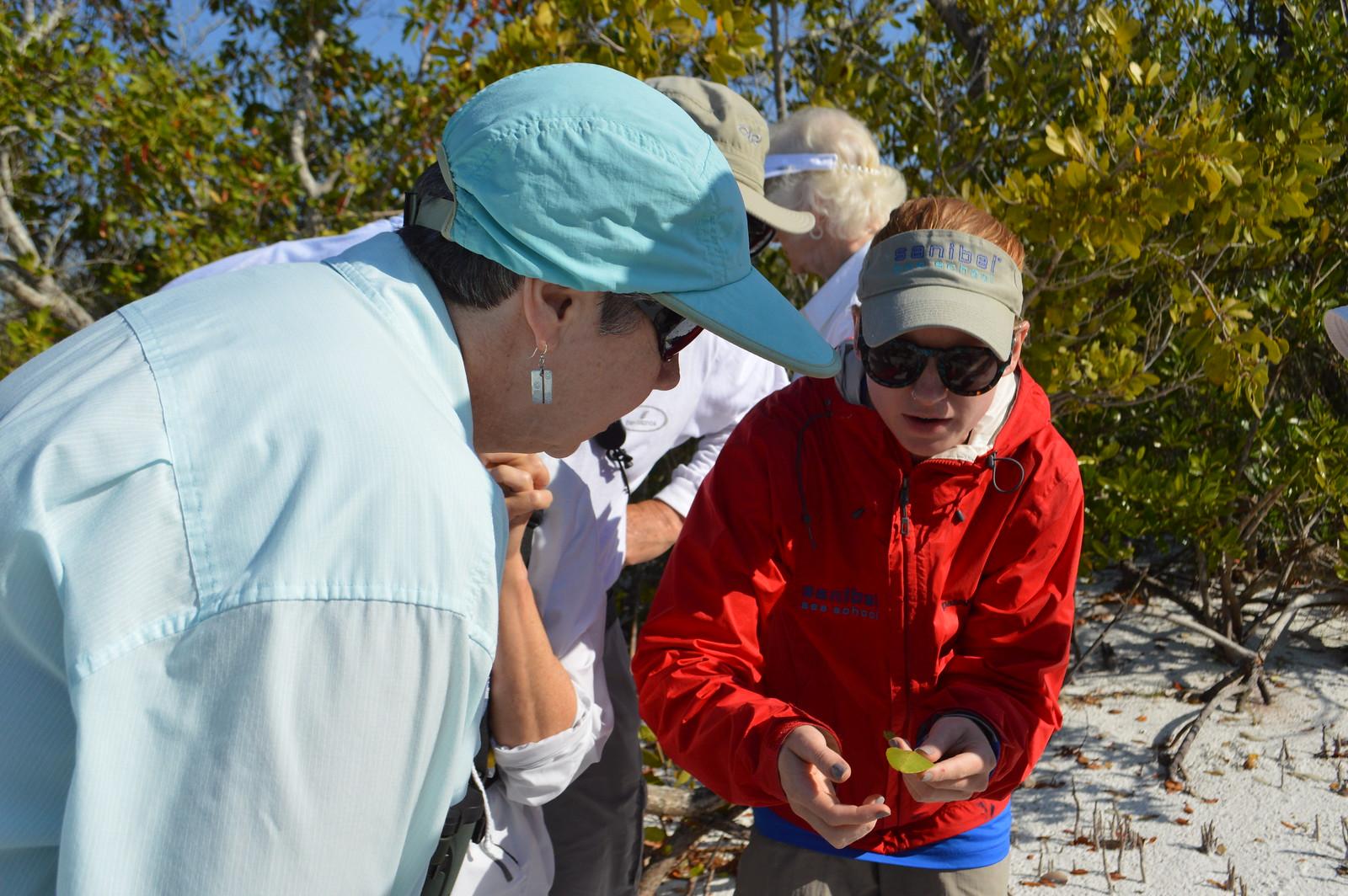 Nicole Finnicum talks about mangroves on a guided beach walk.