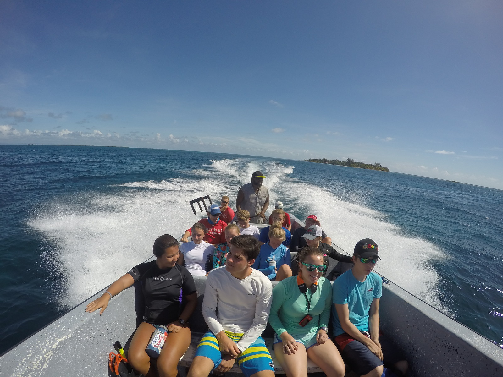 It's just a short boat ride from the field station to the reef.