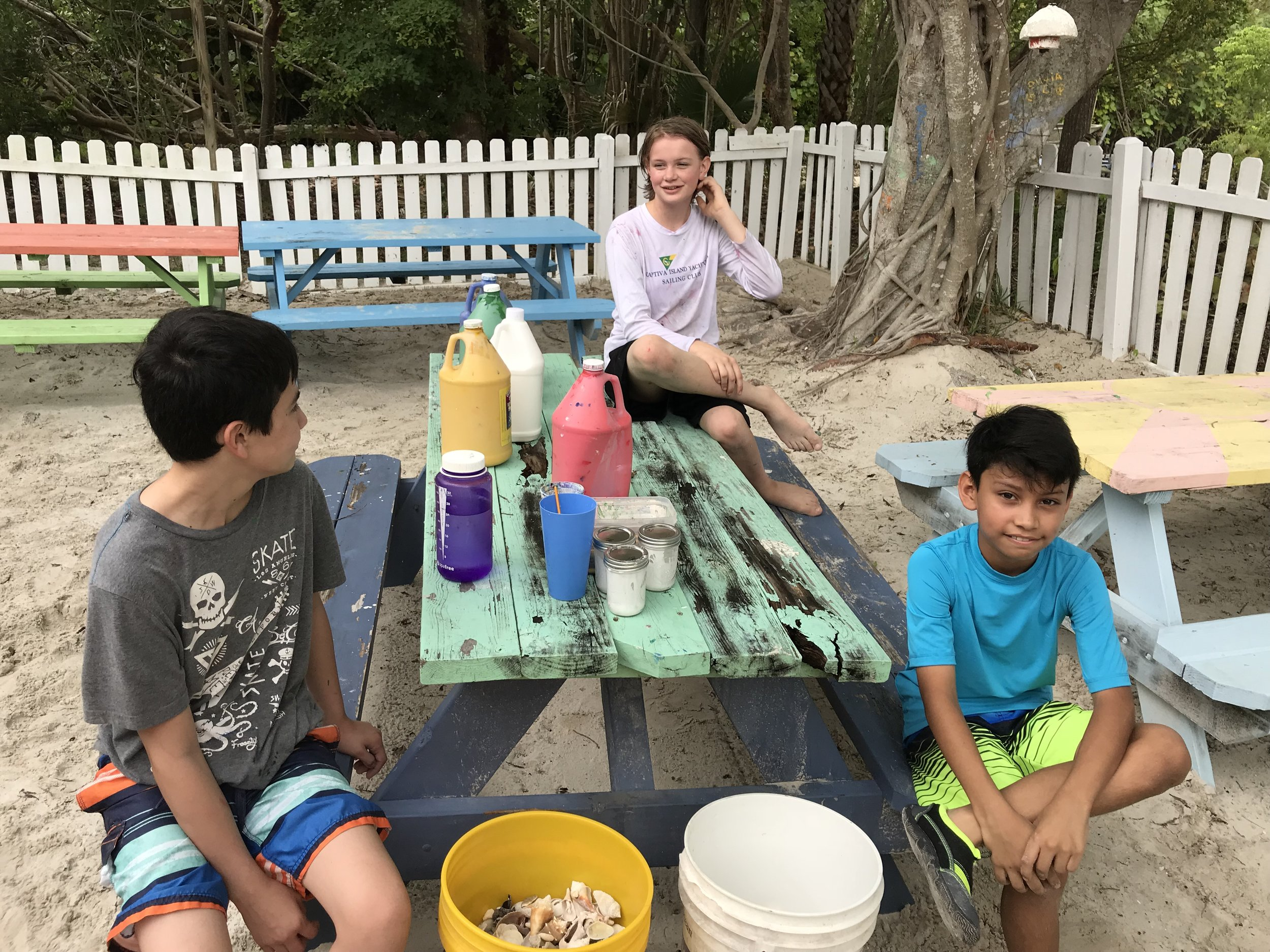 Campers prepared to make sea turtle art.