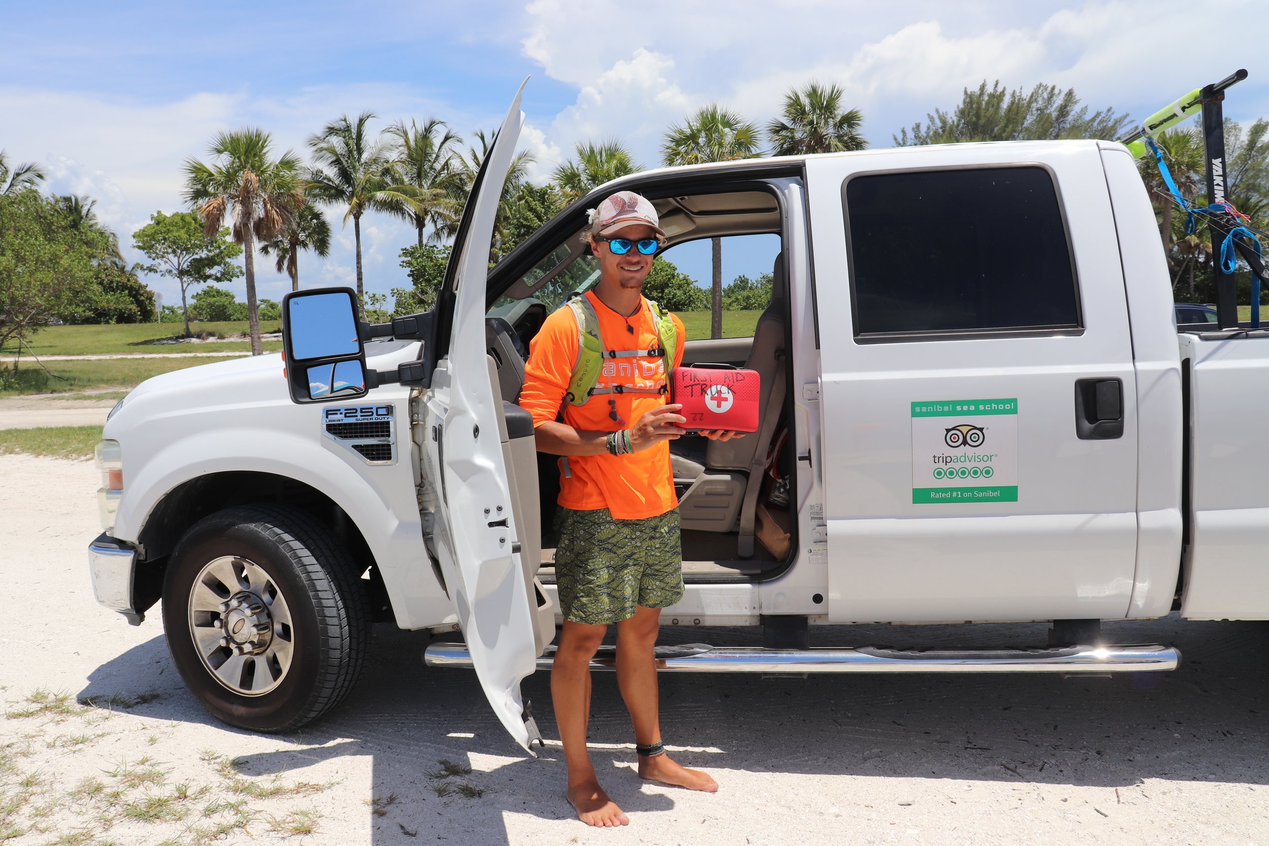 Sanibel Sea School's educators, including Emmett Horvath (pictured), would like to equip the organization's vehicles and boats with AEDs.
