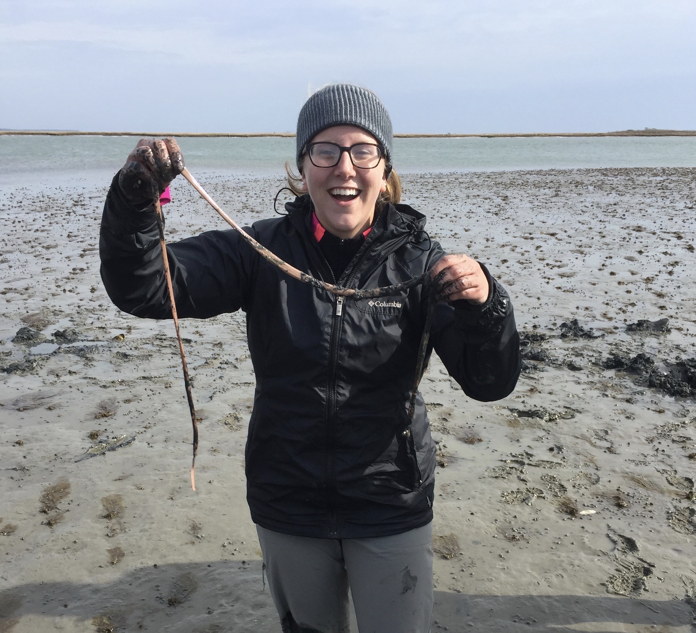 Sam with a milky ribbon worm, found in Chincoteague, VA.