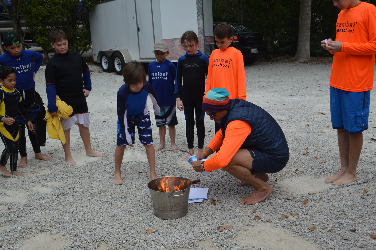 The Give Your Worries to the Sea ceremony is a winter camp tradition loved by campers and staff members alike.