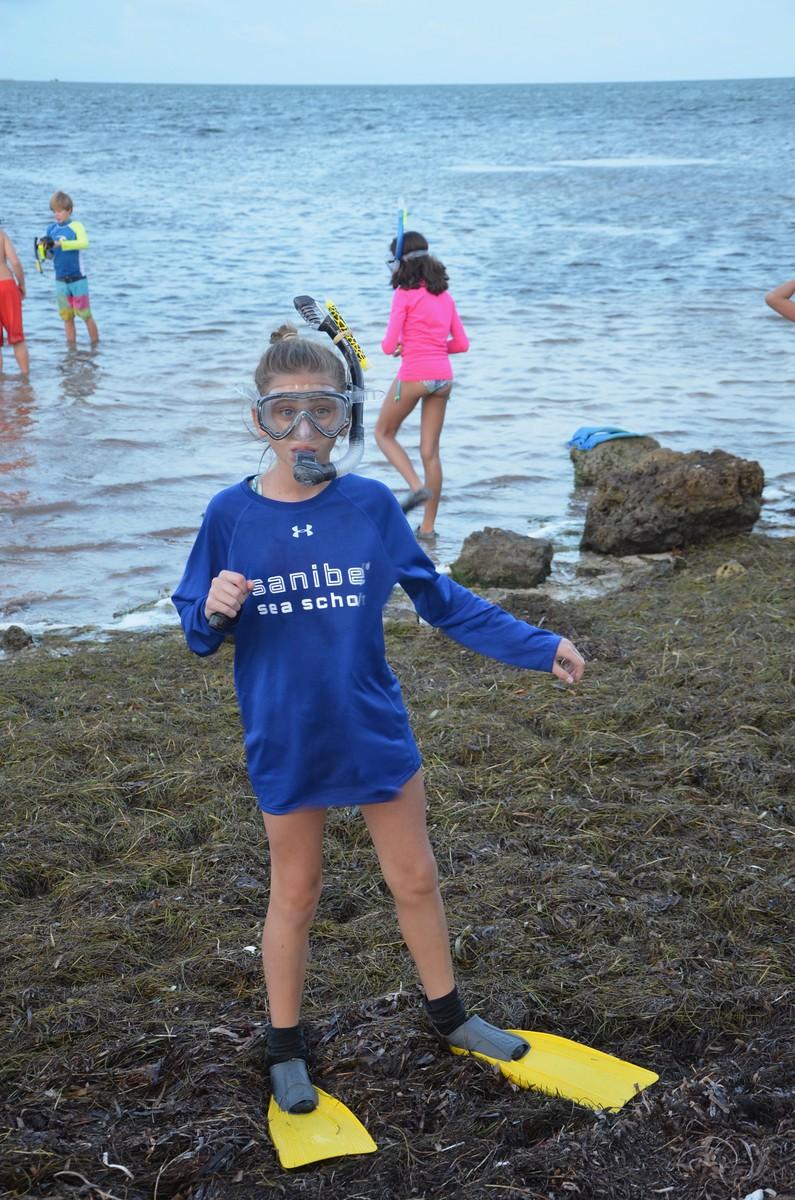 Keys Coral Reef Week campers prepare to snorkel in the seagrass at Big Pine Key.