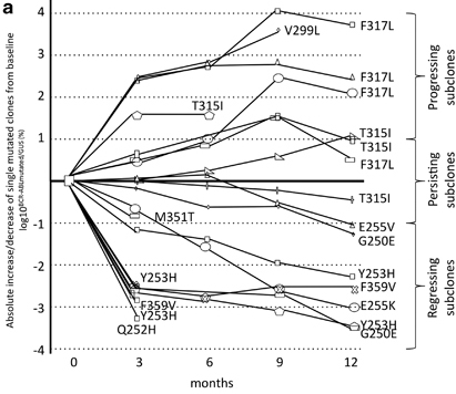 abl mutation dynamics in response to dasatinib treatment. (Leukemia 26:172, 2012)