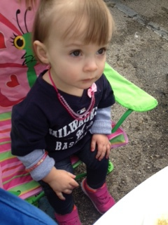 She was ready to tailgate, butterfly chair and all!