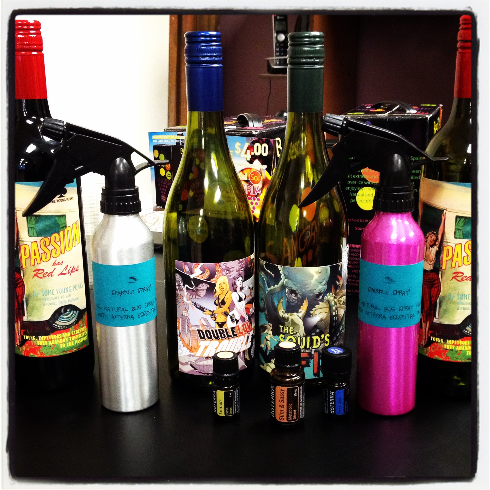 Sparkle spray, wine, and my favorite, doTerra oils!