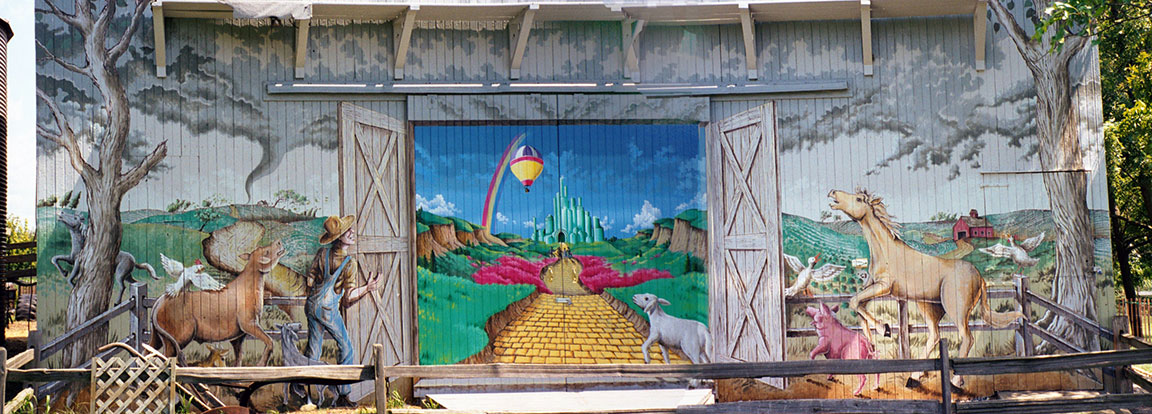 Wizard of Oz themed barn mural