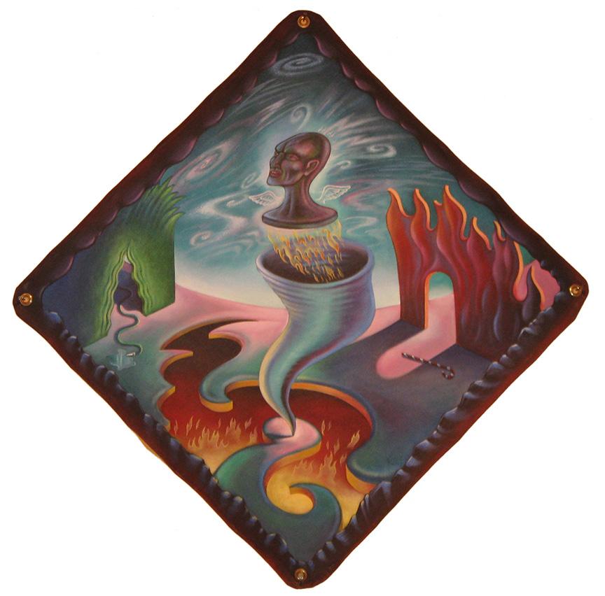 "Vortex , 1987 48""x48"", Acrylic on Canvas"
