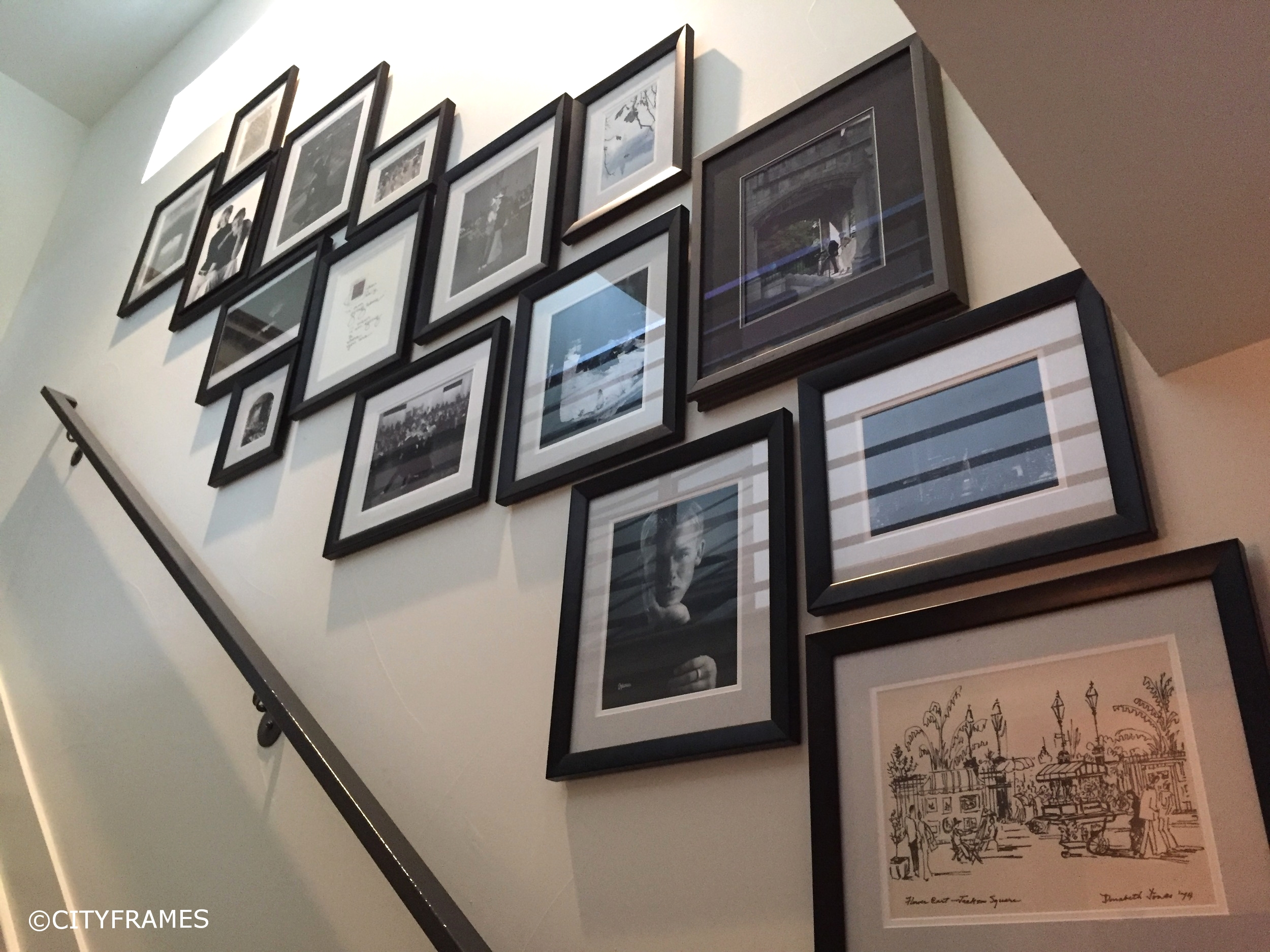 Photographs with similar frames create playful compositions, as seen in the stairway above.  Project: private residence. Staff designer: Summer Sleight.