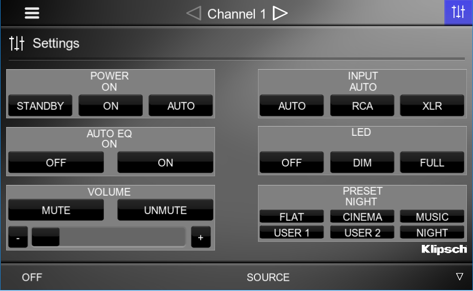 ZONE SETTINGS PAGE ALLOWS FOR END USER CONTROL OVER THE SUBWOOFER
