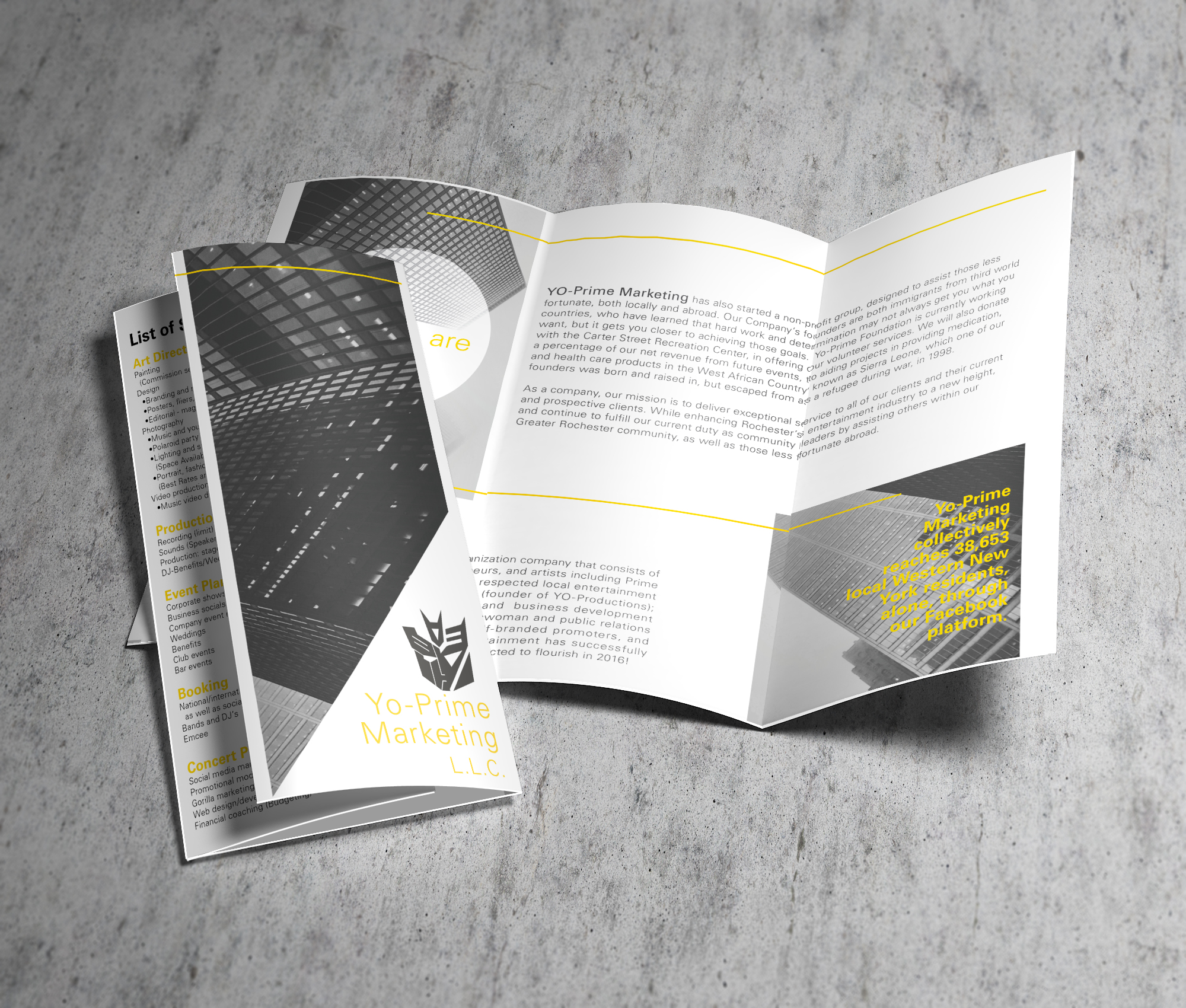 Logo redesign and creation of pamphlet of services offered for a marketing company based in Rochester, NY