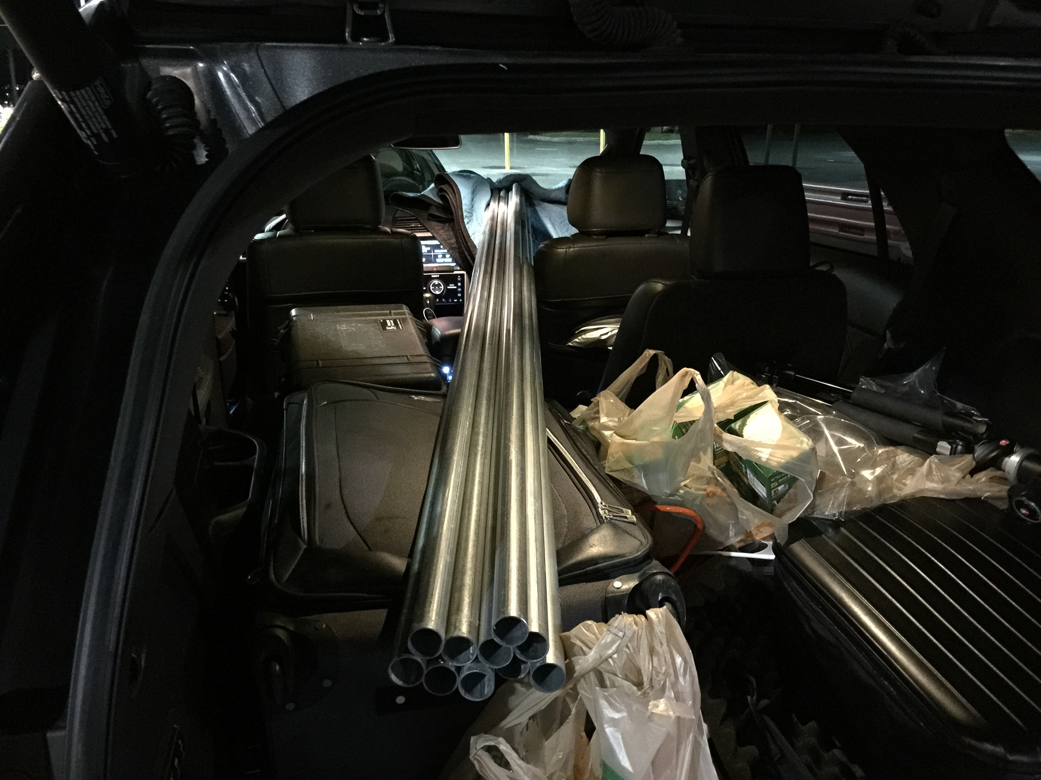 "Our Ford Explorer can hold a 10' 6"" pipe with the gate closed. Had to put a moving blanket on the dash to protect the windshield, but it just fit."