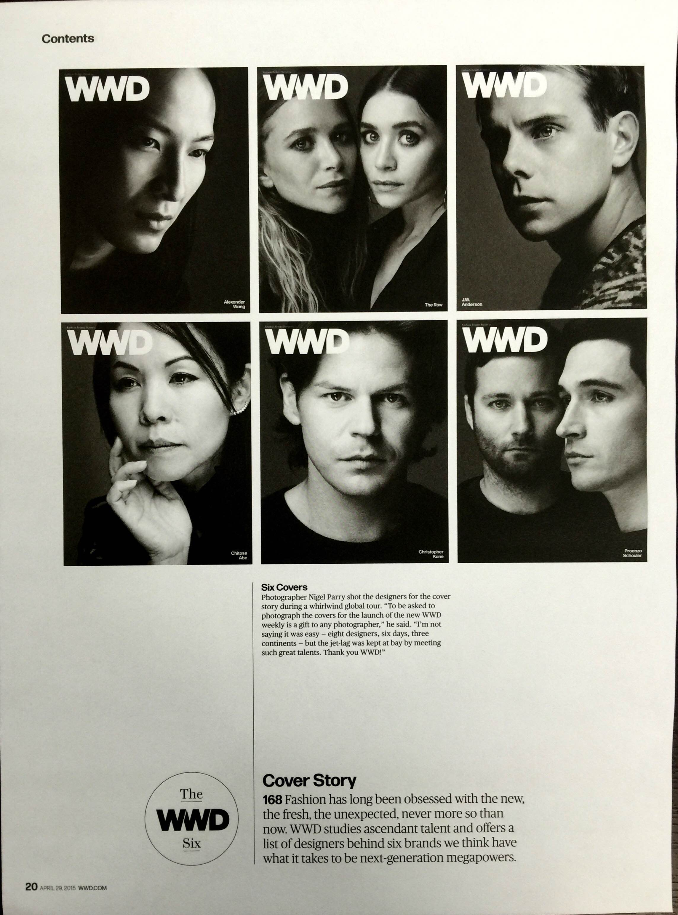 The inspiration for this week's team portraits came from an issue of Women's Wear Daily, beautifully shot in black and white by celebrity photographer  Nigel Parry .