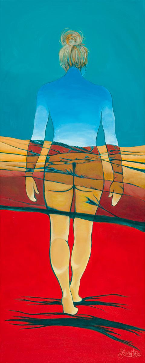 "Ghost Walker  Acrylic on gallery wrap canvas 40"" x 16"""