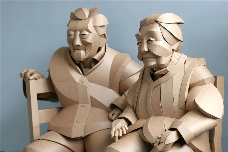 Warren King recreates People from Grandparents Village as Life-Size Cardboard Sculptures
