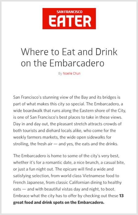 San Francisco Eater  - July 2016